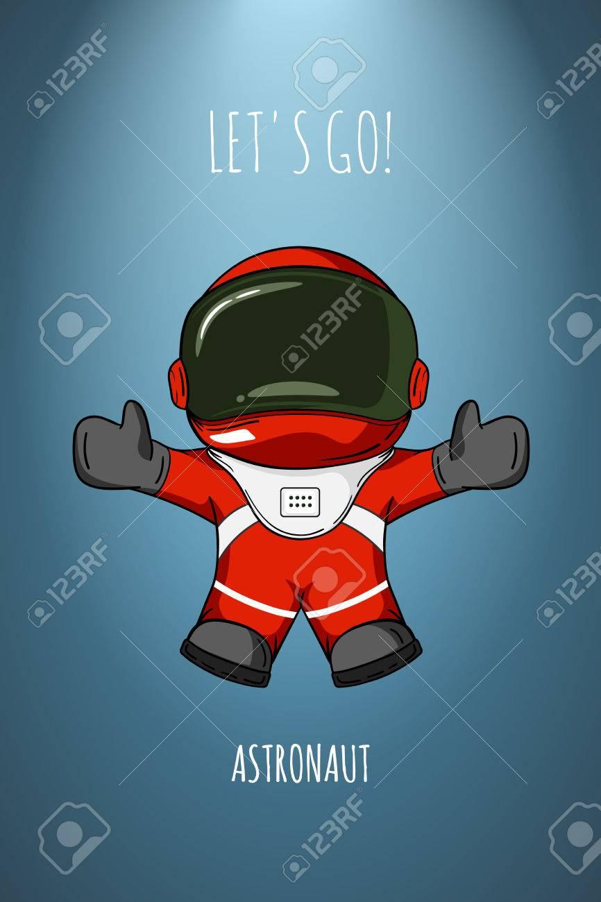 Vettoriale cartone animato astronauta in tuta spaziale che