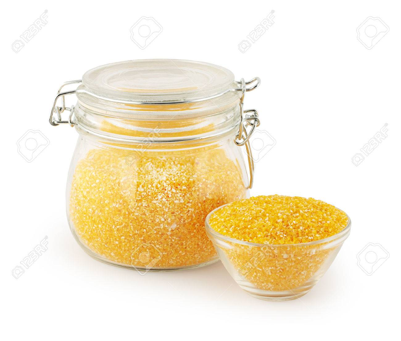 Glass kitchen utensils - Stock Photo Maize Grits In Glass Kitchen Utensils On White Background