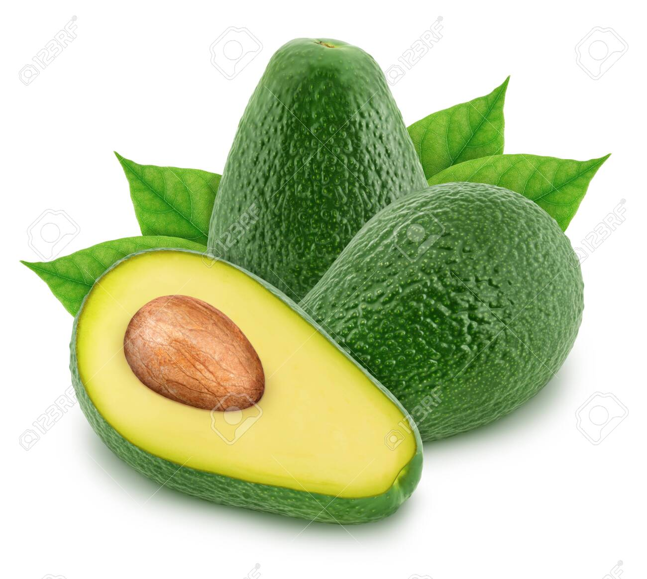 Composition with green avocados isolated on white background - 123754145