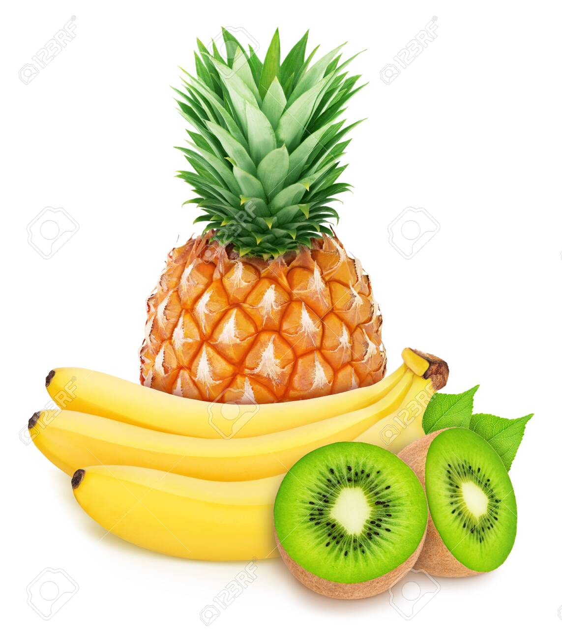 Ccomposition with tropoc fruits: banana, kiwi and pineapple isolated on a white background. - 131064105