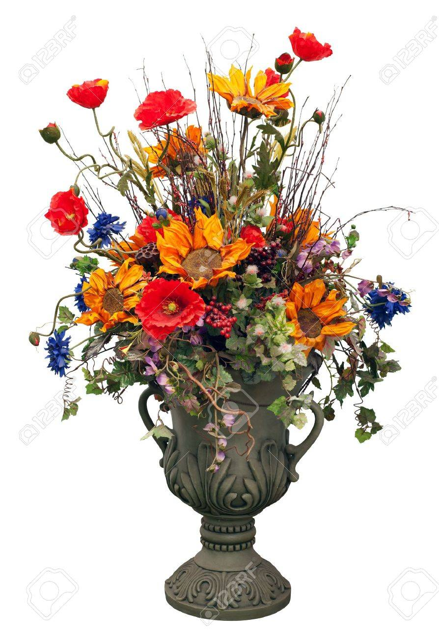 Flowers in vase isolated on white Stock Photo - 10027987