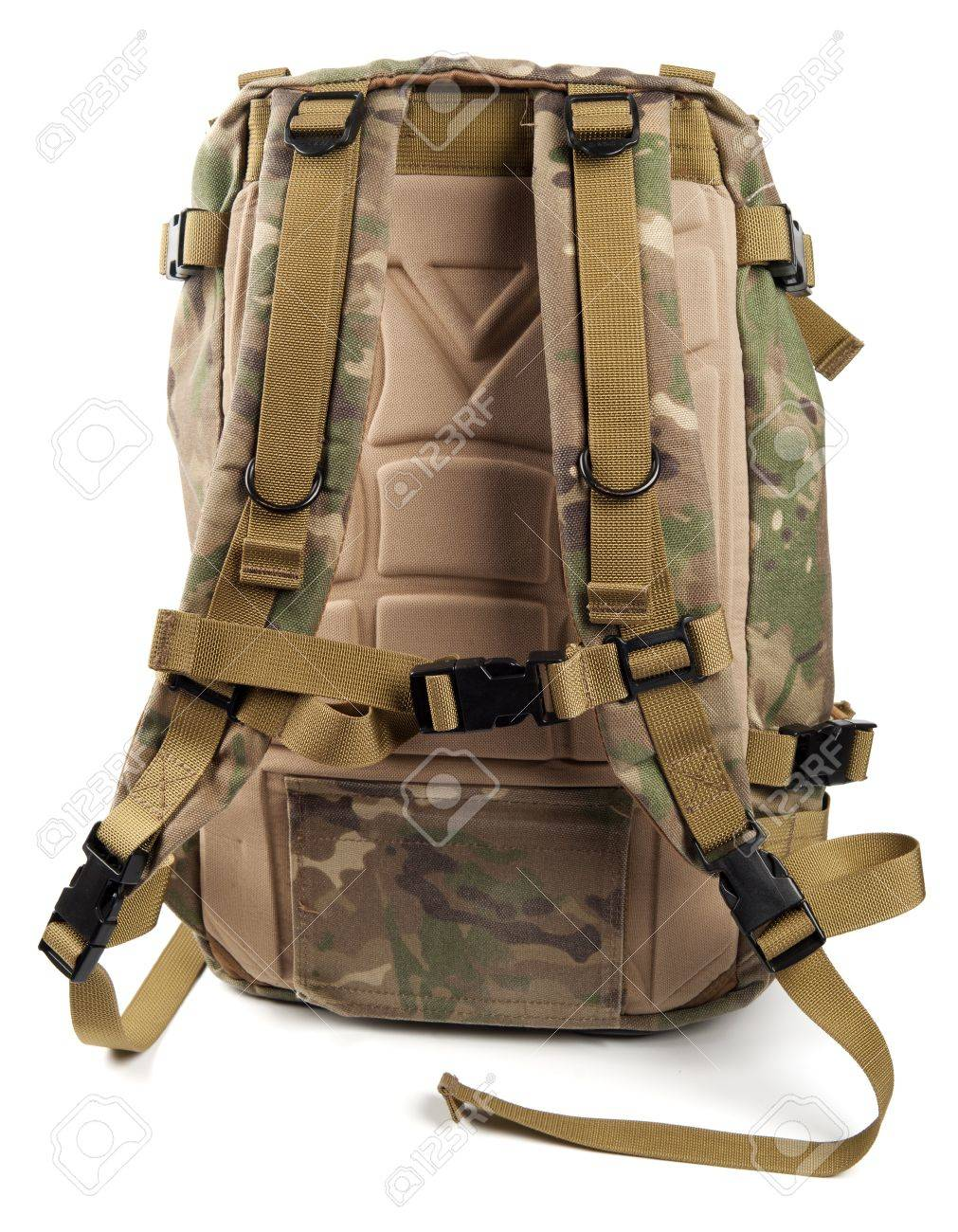 Military camouflage backpack isolated on white - 10027878