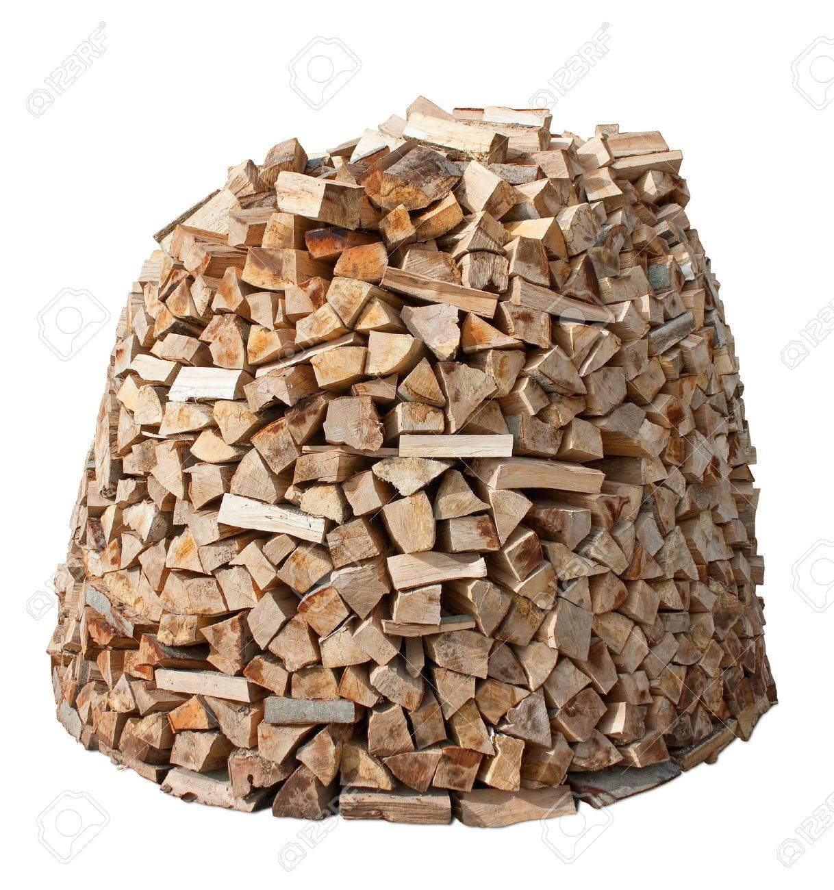 Firewood stack isolated over white. - 10029266