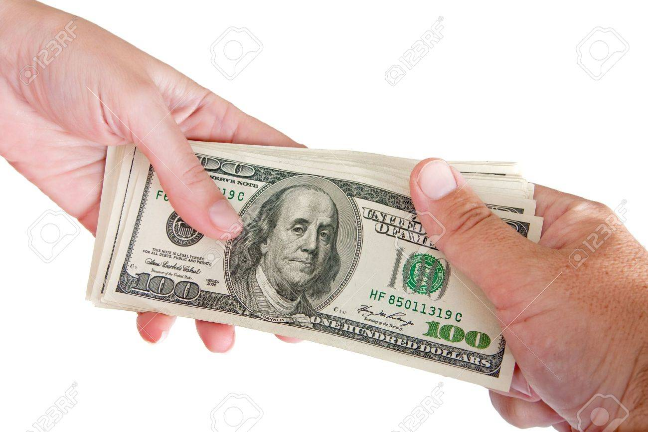 Man and woman holding a bundle of a hundred dollar banknotes Stock Photo - 10028812