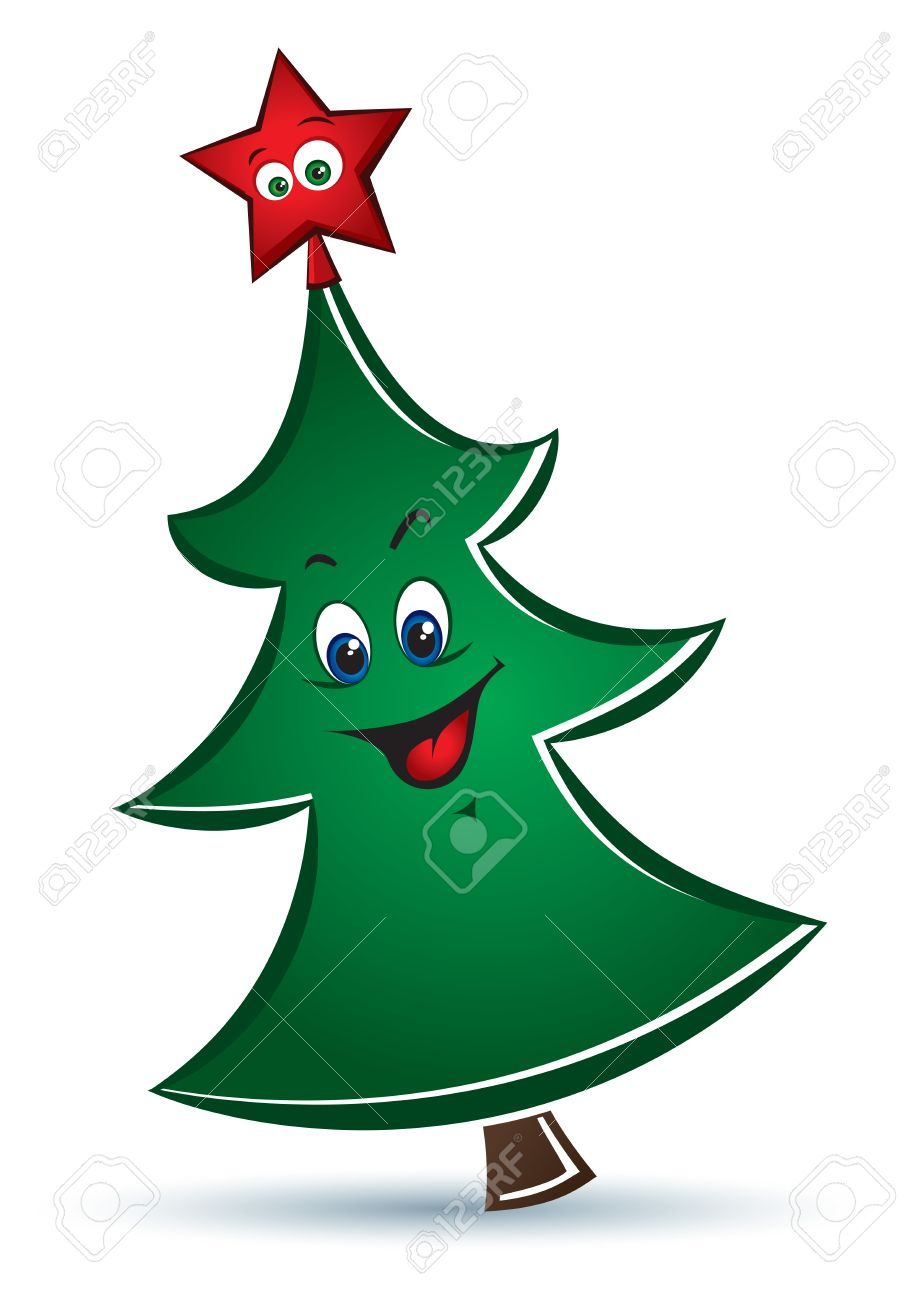 vector cartoon funny christmas tree with red star royalty free