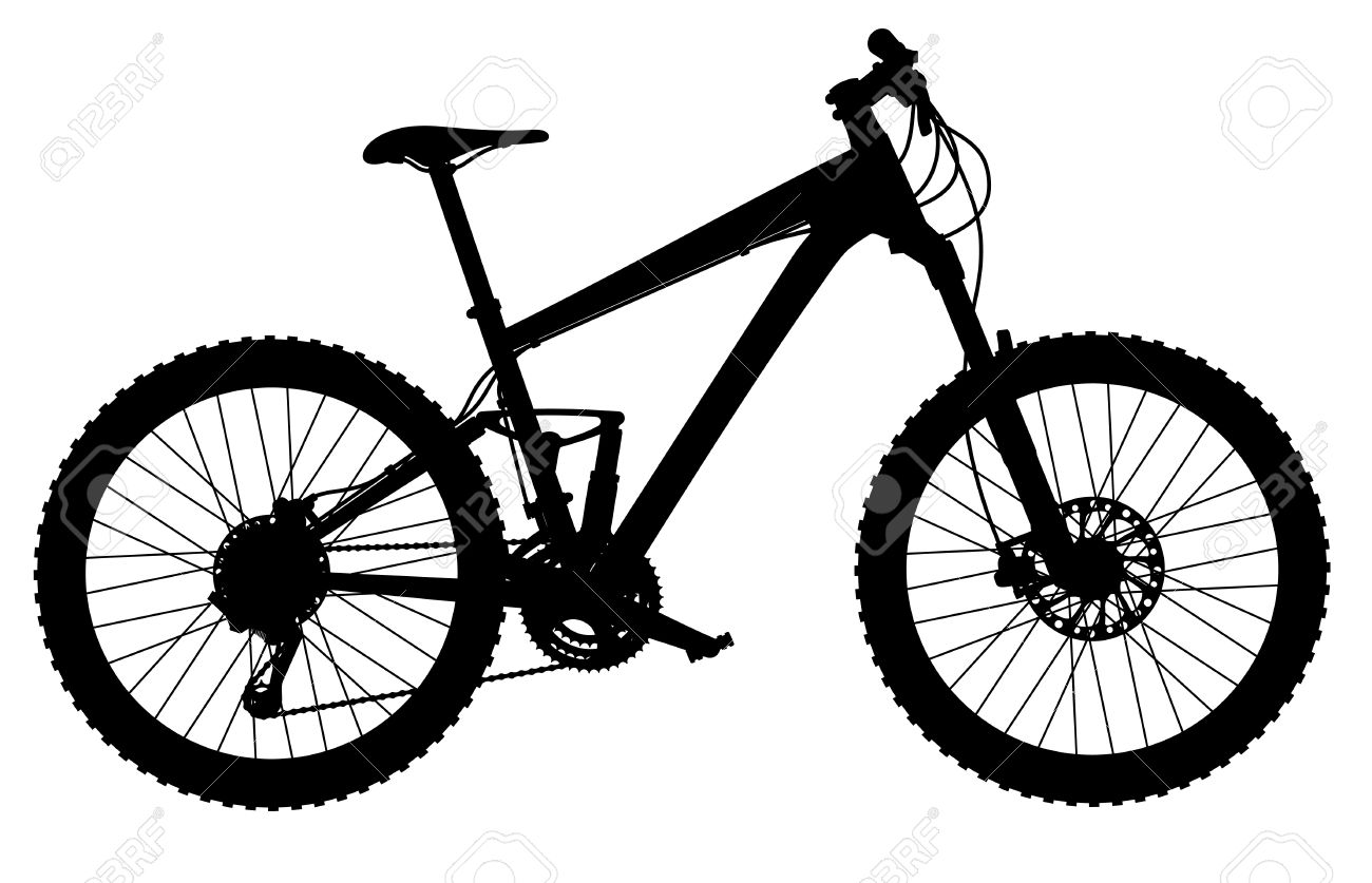 silhouette of full-suspension mountain bike Stock Vector - 20194191