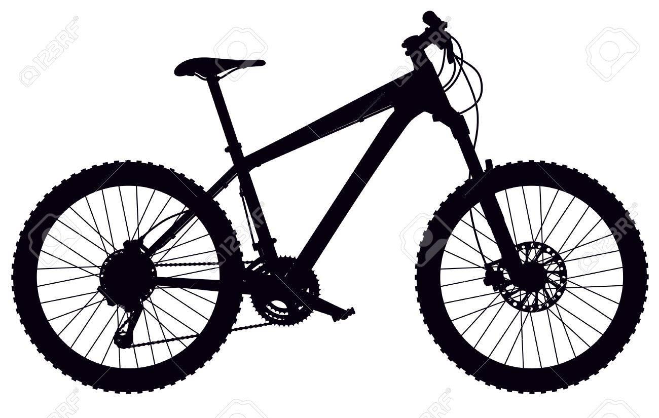 Silueta De Cola Dura Bicicleta De Montaña, Con Un Diseño ...