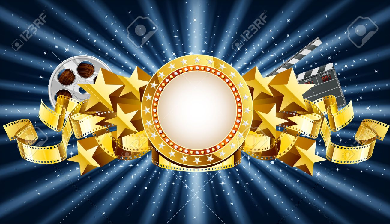 Golden Marquee Banner With Movie Clapper And Film Reel EPS 10 Stock Vector