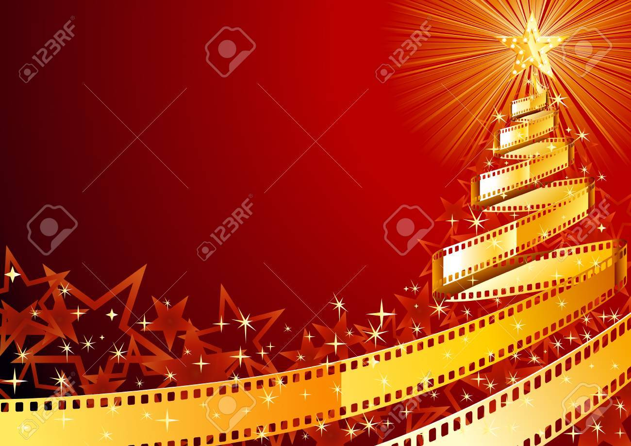 Christmas Pine Tree Made Out Of Film Strip Royalty Free Cliparts