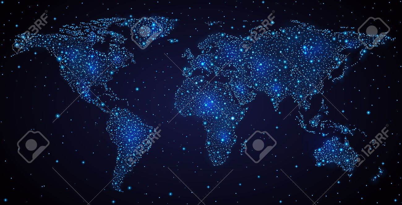 Abstract world map on night sky stock photo picture and royalty abstract world map on night sky stock photo 30721879 gumiabroncs Choice Image