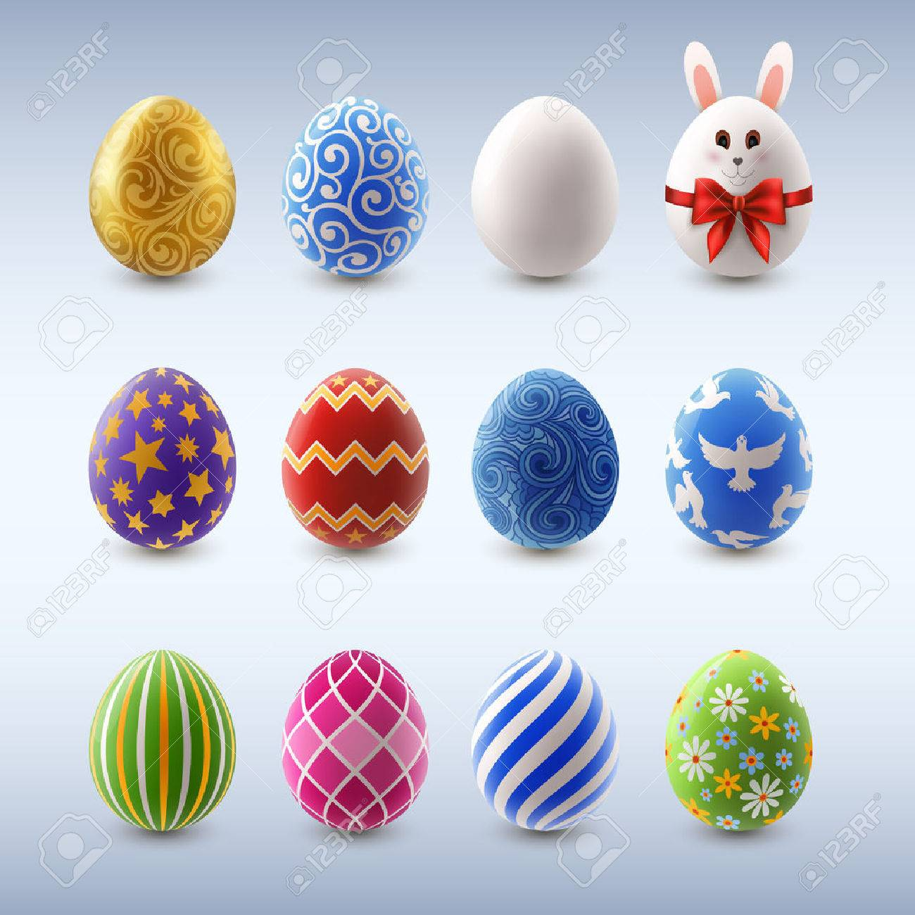Set Of Colorful Decorated Easter Eggs Eps 10 Contains Transparency