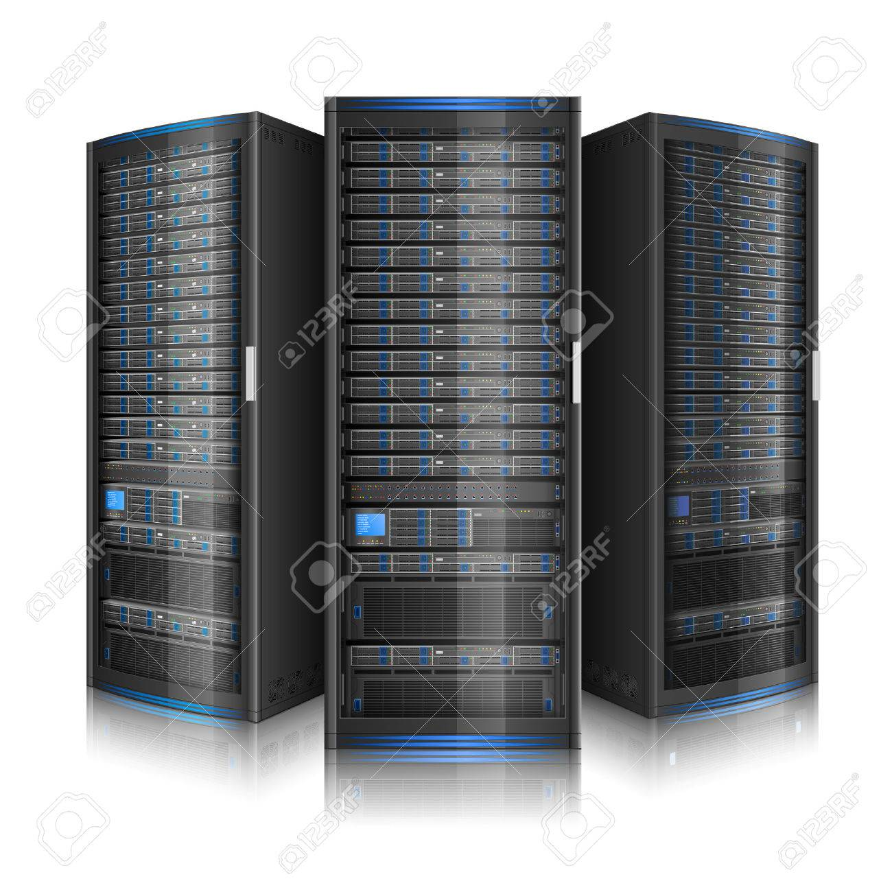 Row of network servers, illustration of data center, or super computer, contains transparency - 57964820