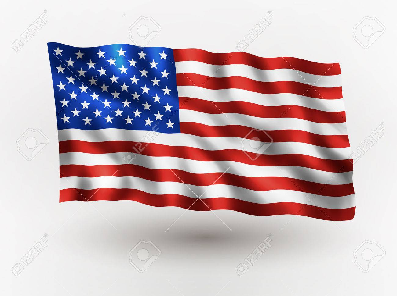 Illustration of waving USA flag, isolated flag icon, EPS 10 contains transparency. - 59196351