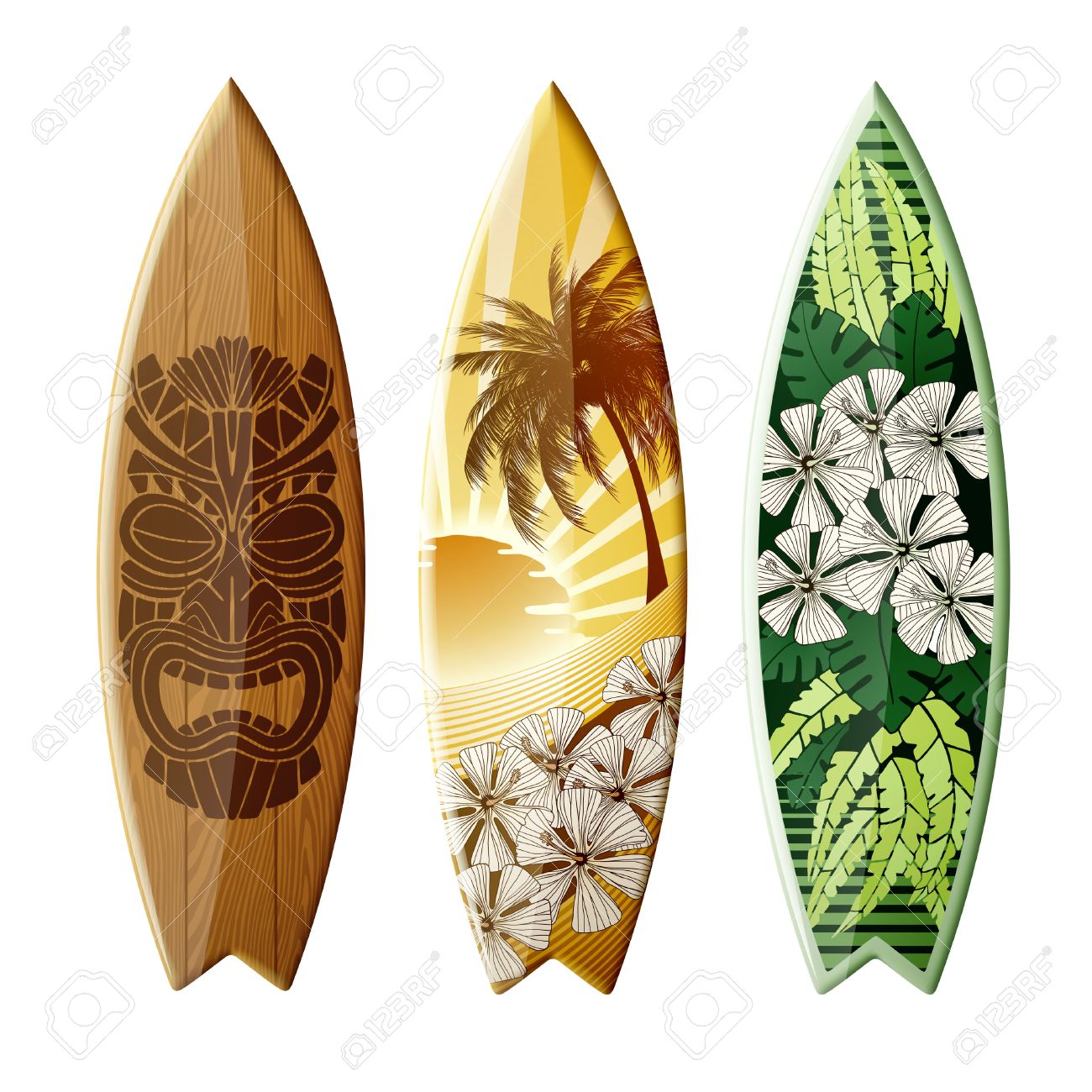 Set Of Surfboards With Original Design Color Print EPS 10 Contains Transparency
