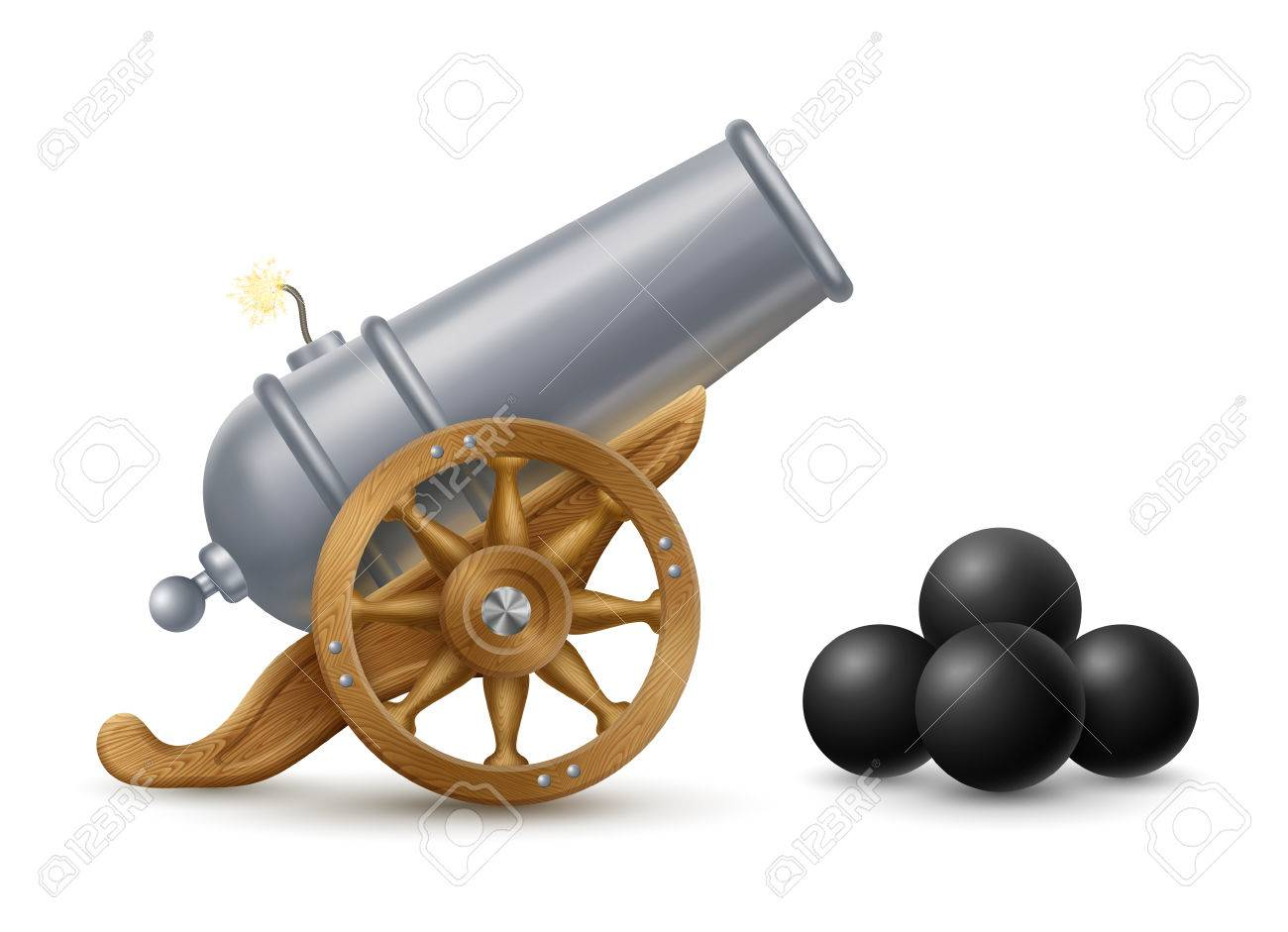cartoon illustration of cannon with cannonballs weapon icon