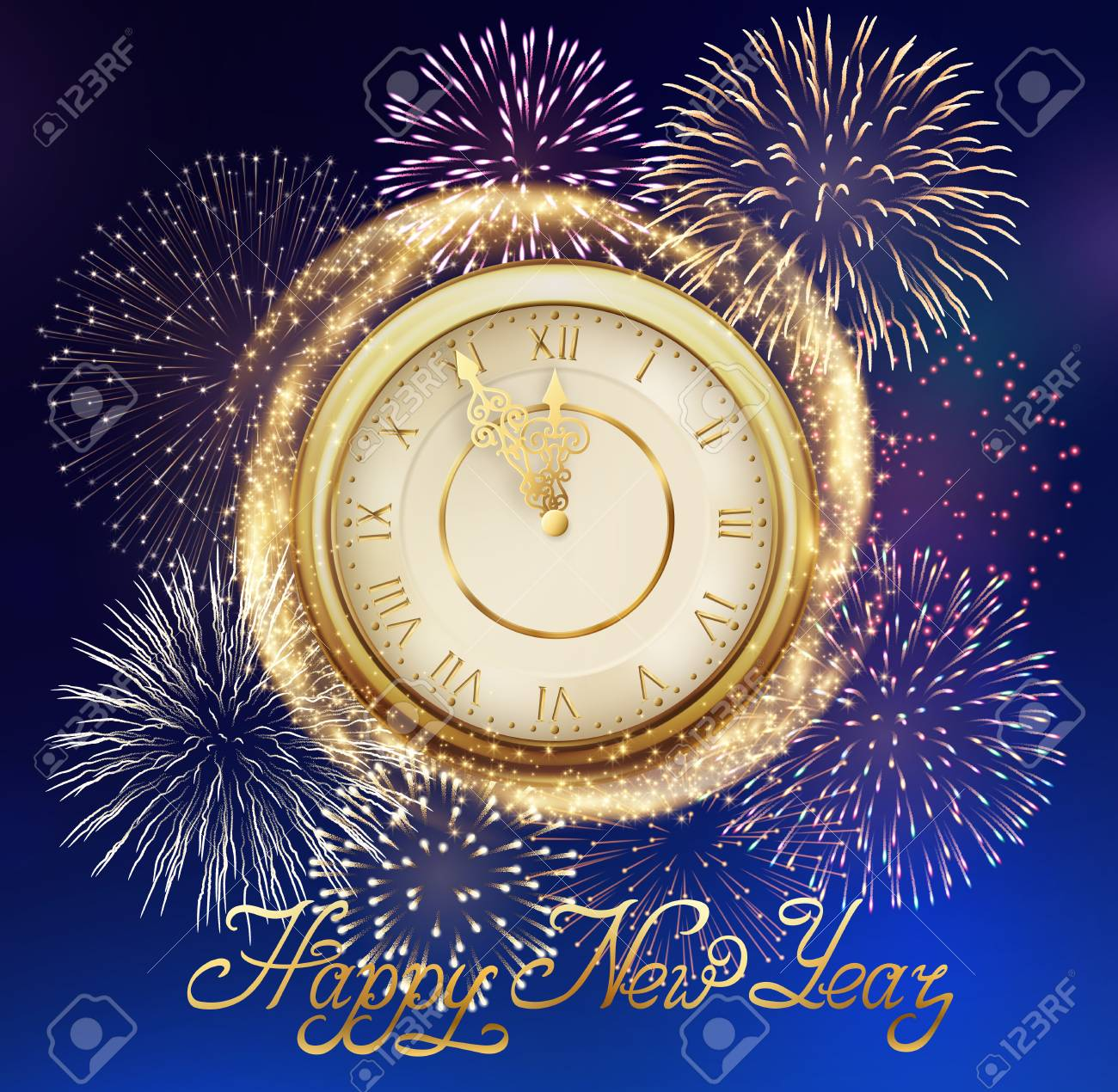 happy new year background with golden clock and sparkles and fireworks stock vector