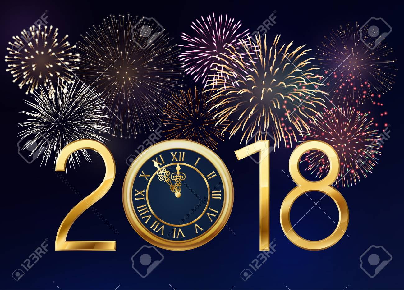 2018 new year greeting card with golden clock and sparkles and 2018 new year greeting card with golden clock and sparkles and fireworks eps 10 m4hsunfo Gallery