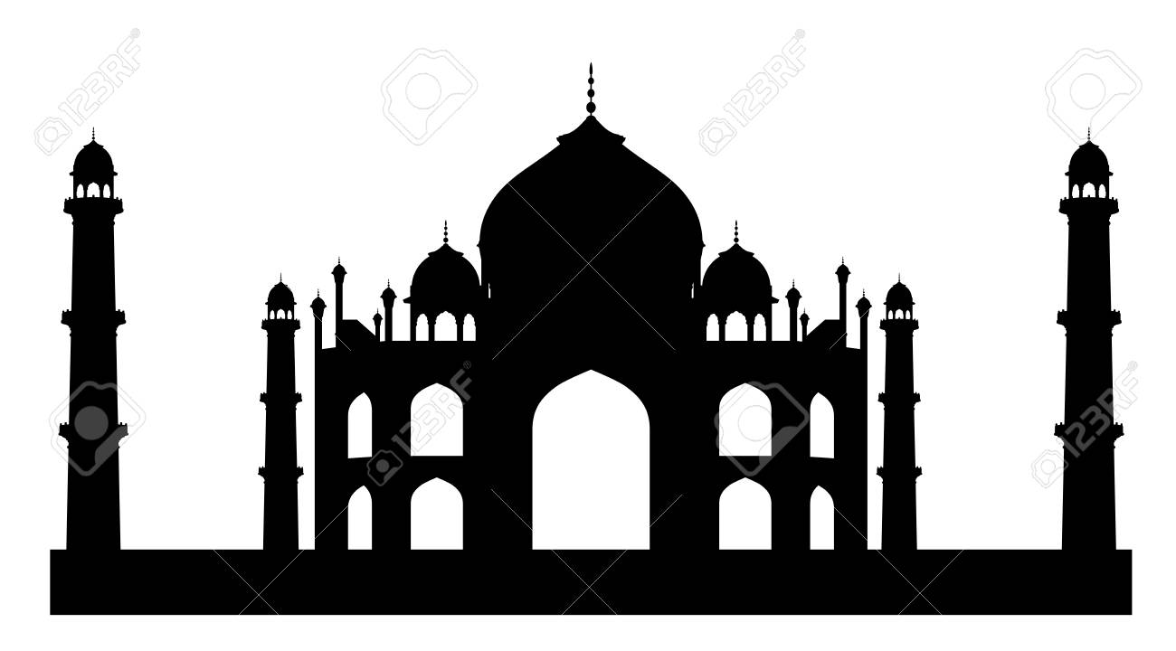 Black silhouette of mosque and mausoleum Taj Mahal. EPS 8 - 122108239