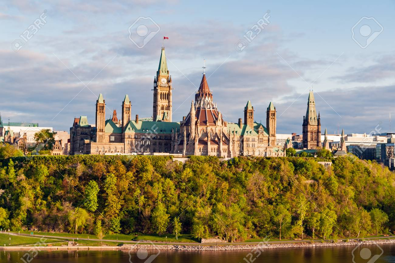 sunset on parliament hill in ottawa ontario canada its gothic