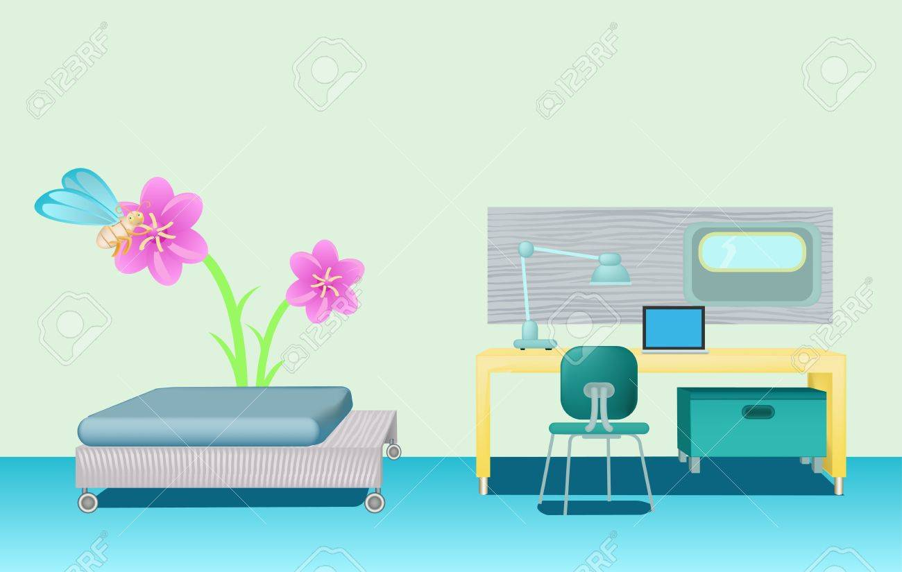 bedroom with green wall and flowe picture Stock Vector - 12479921
