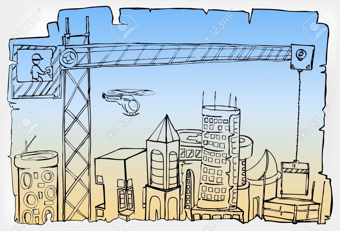 hand draw of city development Stock Vector - 12479961