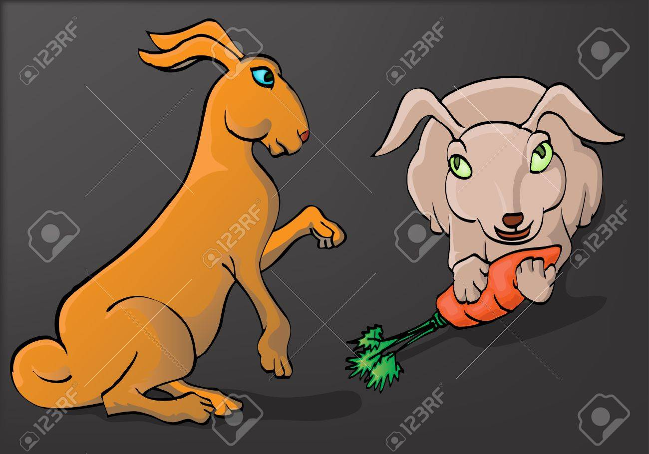 two rabit eating carot Stock Vector - 12479793
