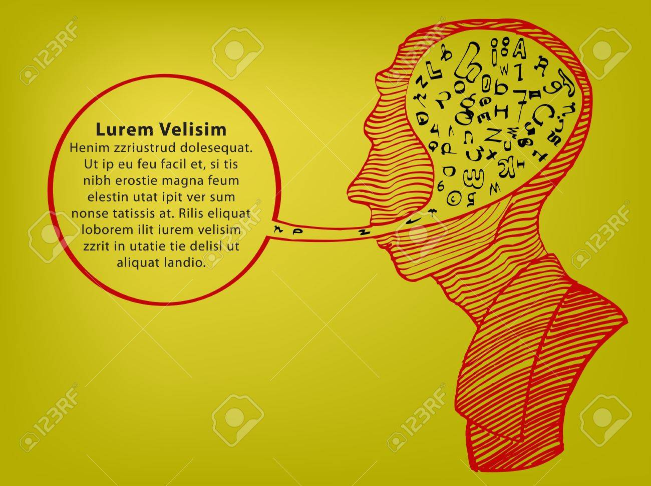 hand draw of head speaking with text Stock Vector - 12479965