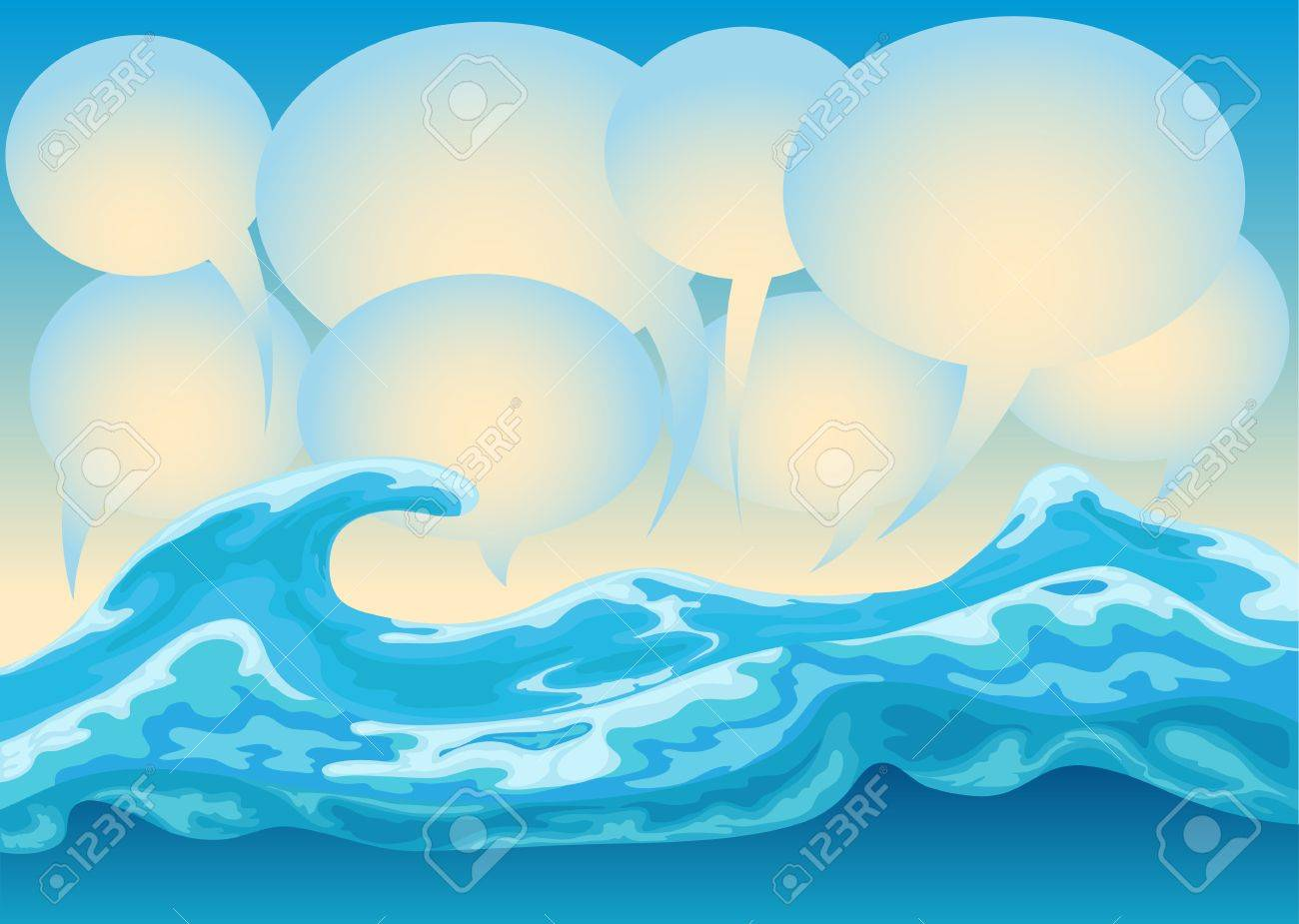 ocean wave with bubble text Stock Vector - 12479981