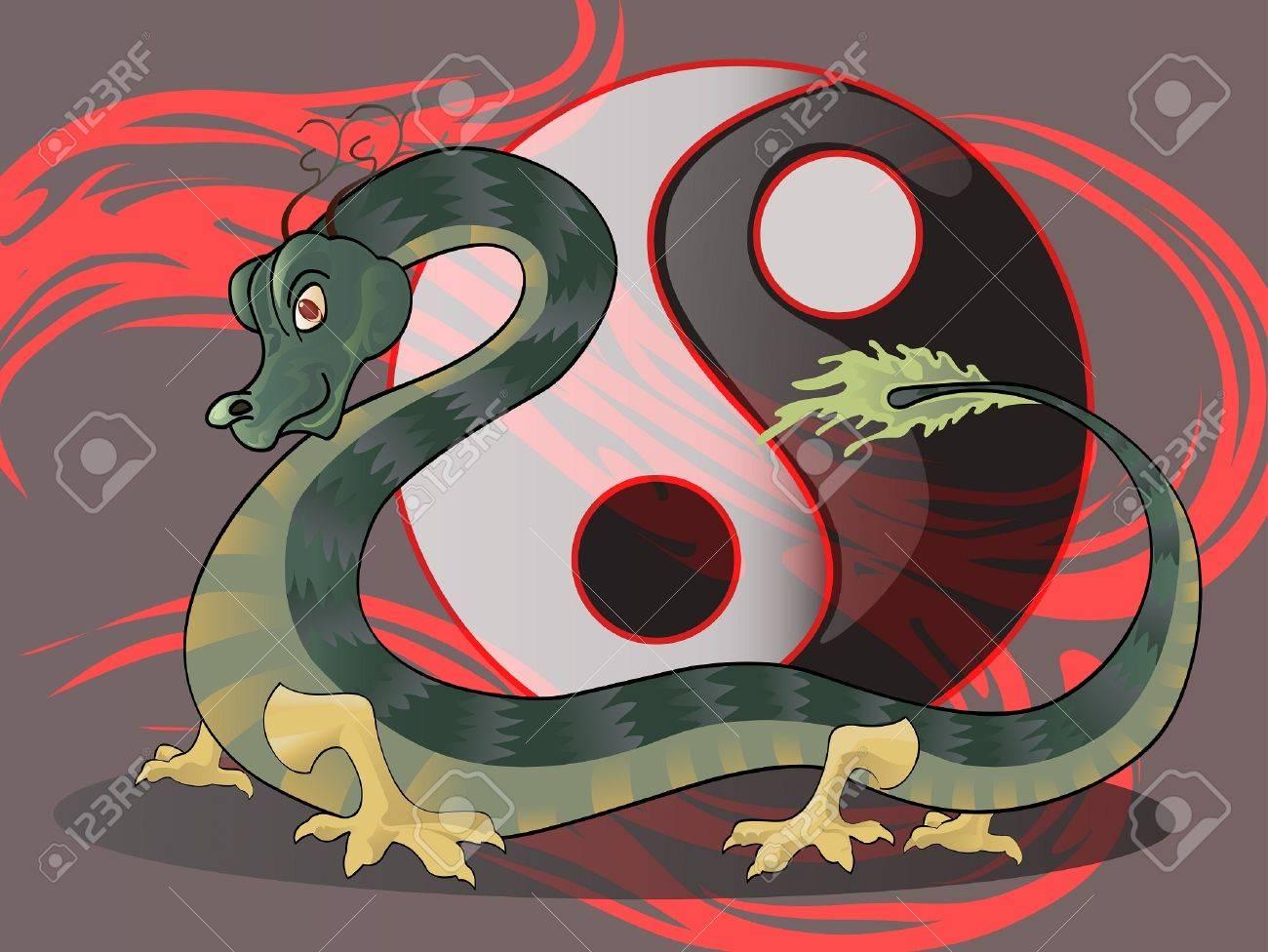 dragon with yin yang symbol Stock Vector - 13224134