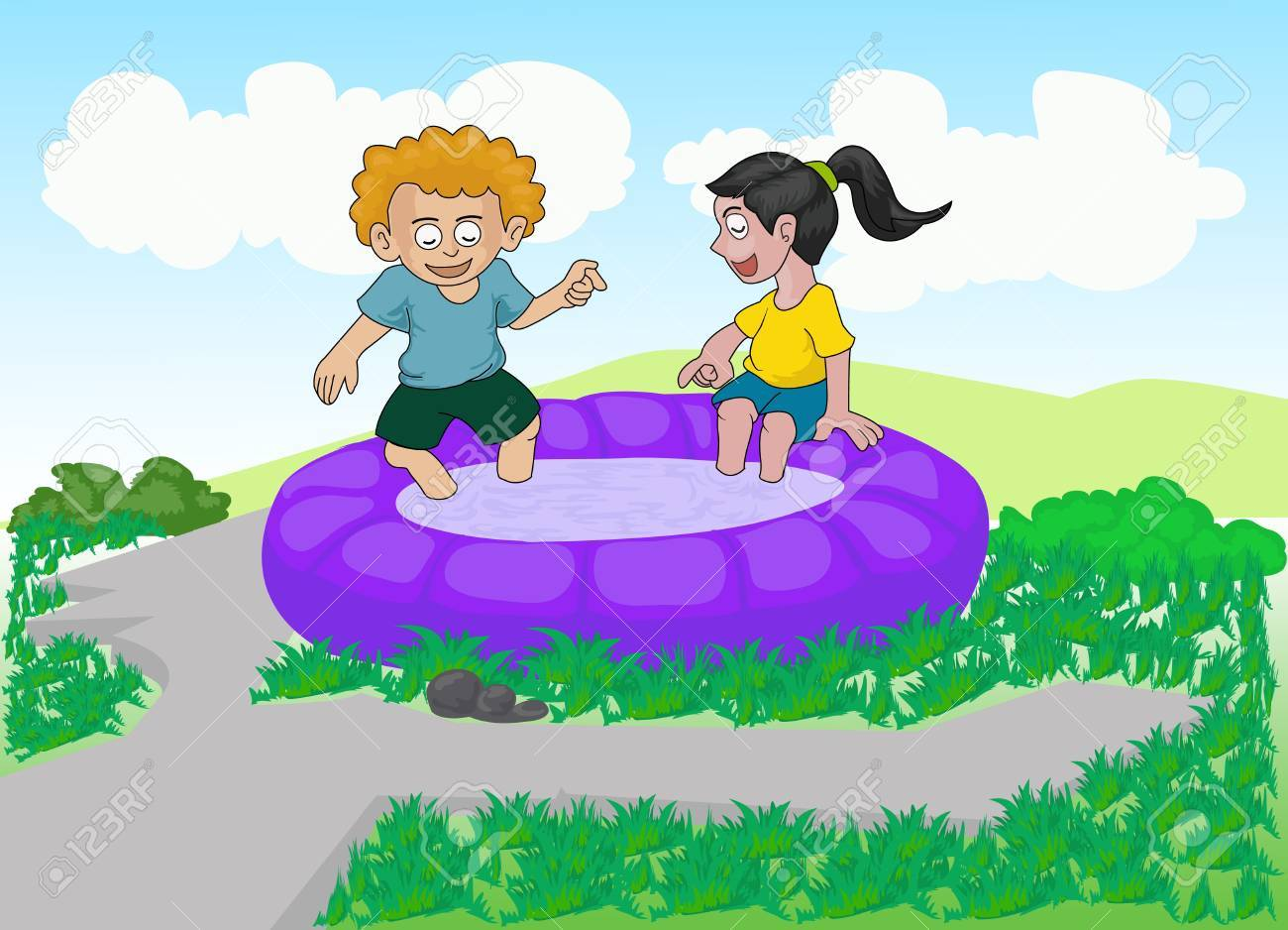 happy little couple playing water on water pool Stock Vector - 13458848