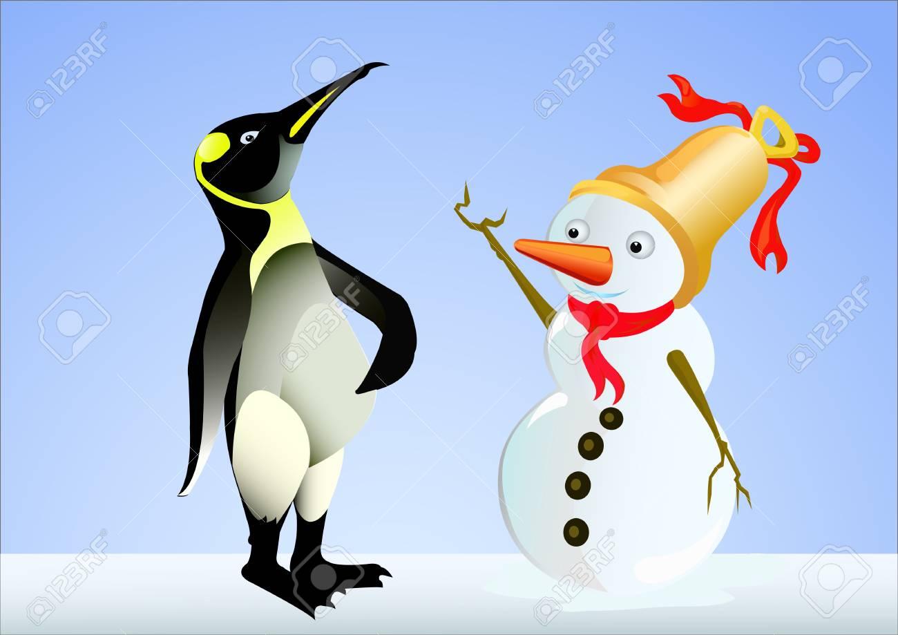 penguin speak to snow doll 2 Stock Vector - 13440609