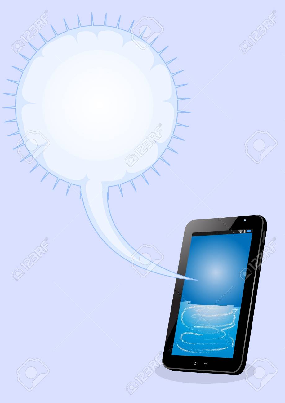tablet pc with bubble text on blue background Stock Vector - 14152504