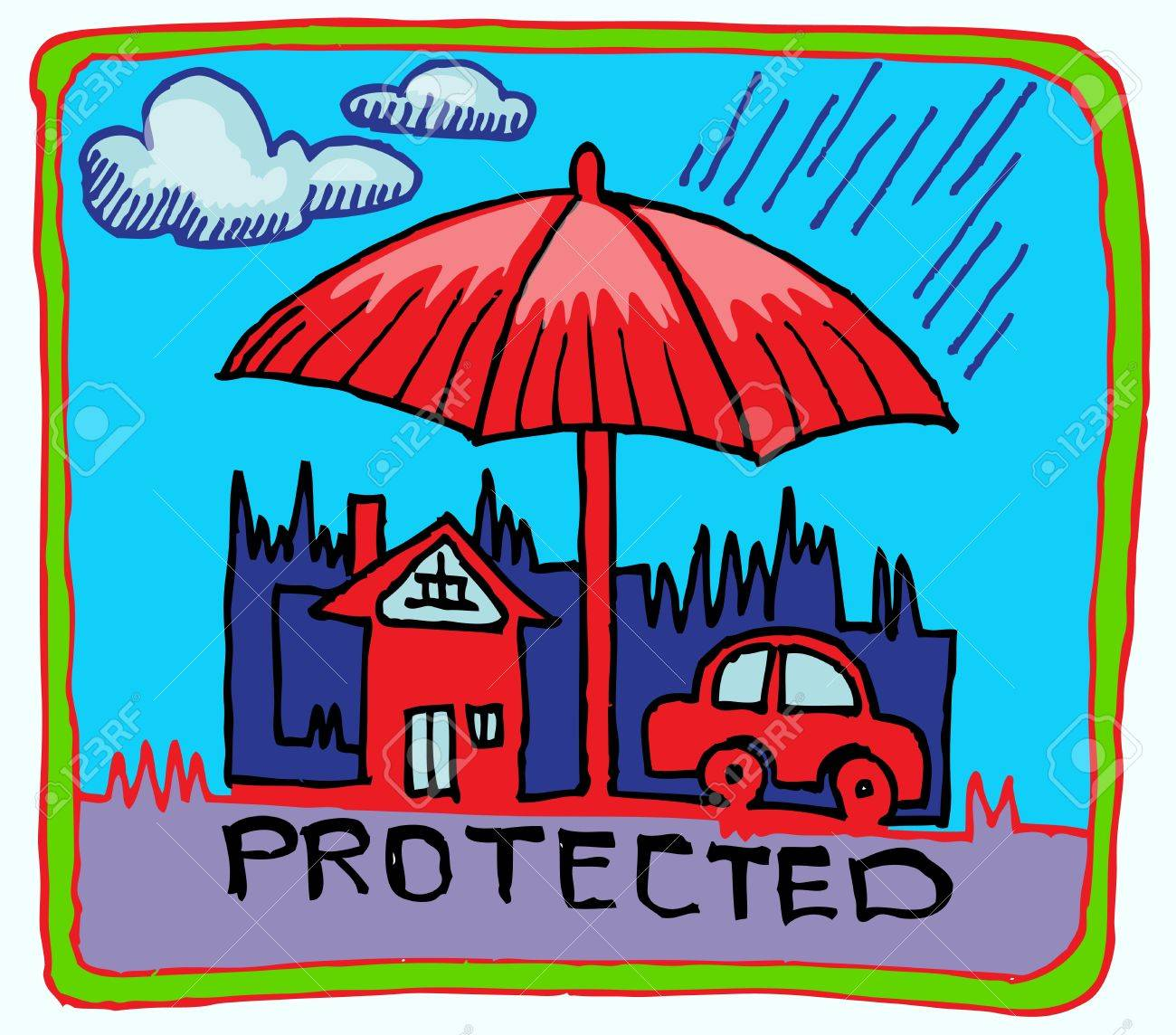 Car And Home Insurance >> Car And Home Insurance Symbol Hand Draw