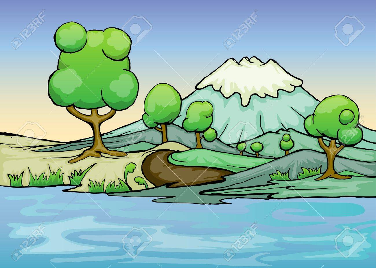 illustration of landscape with river foreground Stock Vector - 20931449