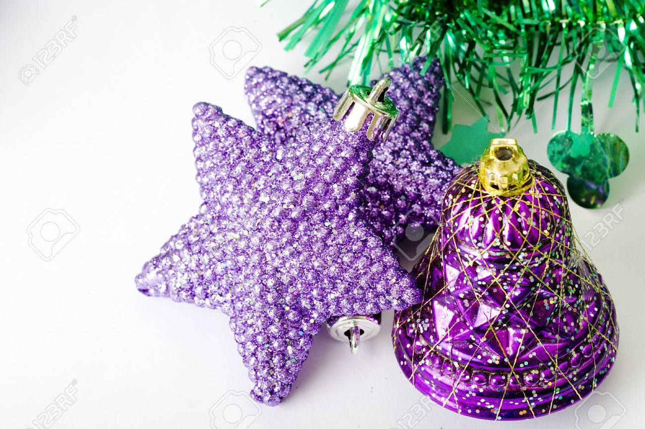 Lavender christmas ornaments - Purple Stars And Purple Bell Christmas Ornaments Stock Photo 5861716