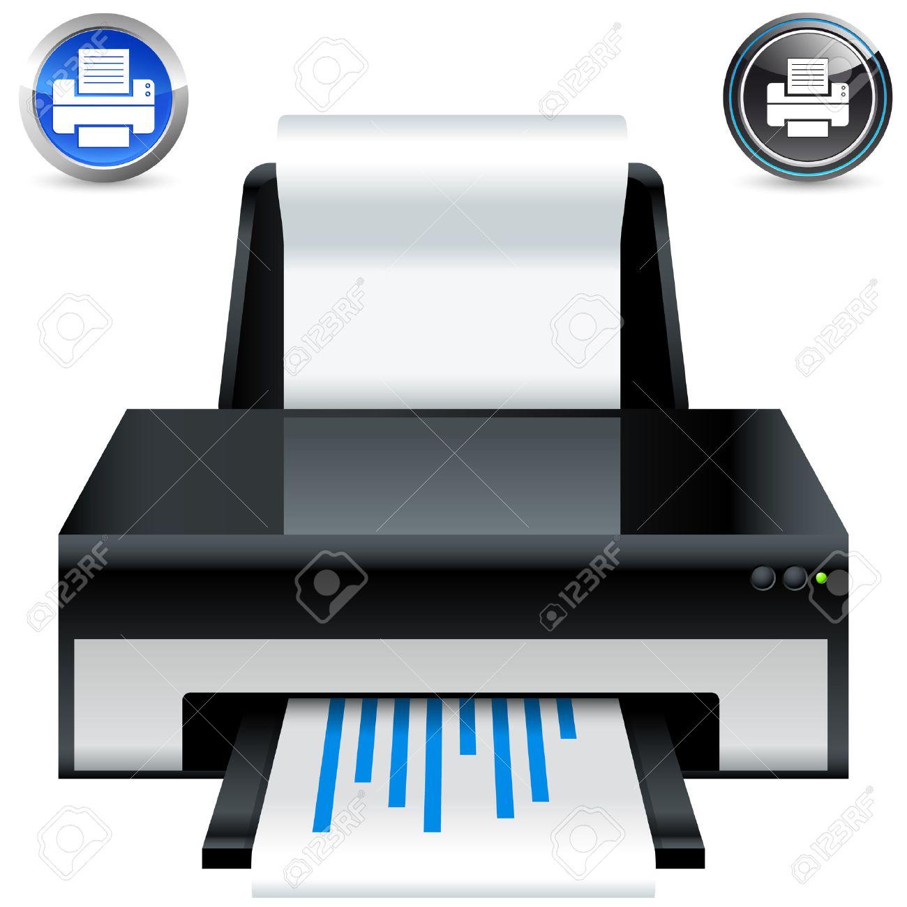 printer icon and button set Stock Vector - 8427053