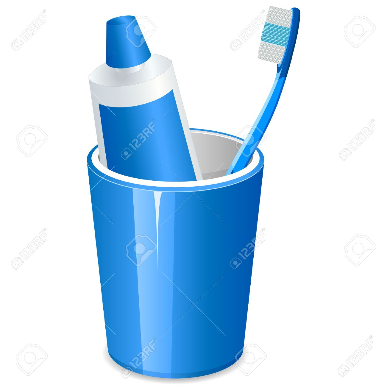 brushing teeth and toothpaste in a cup Stock Vector - 8503199