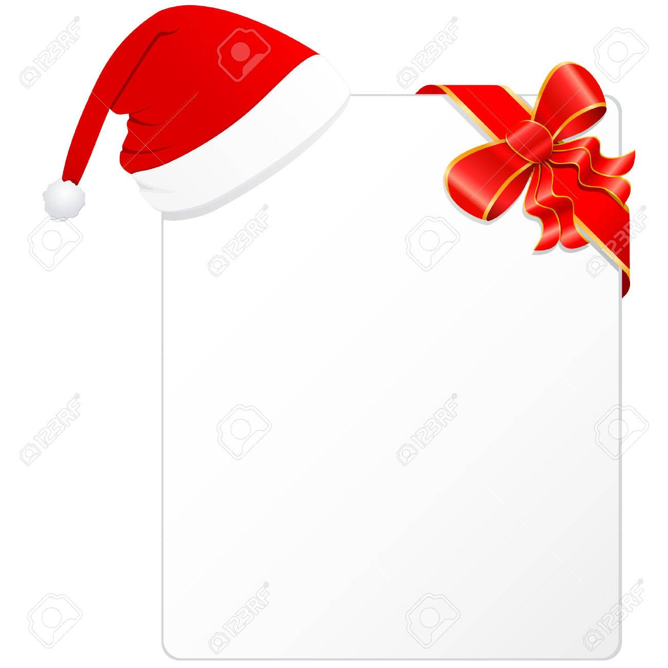 christmas card with santa hat and red ribbon Stock Vector - 8503186