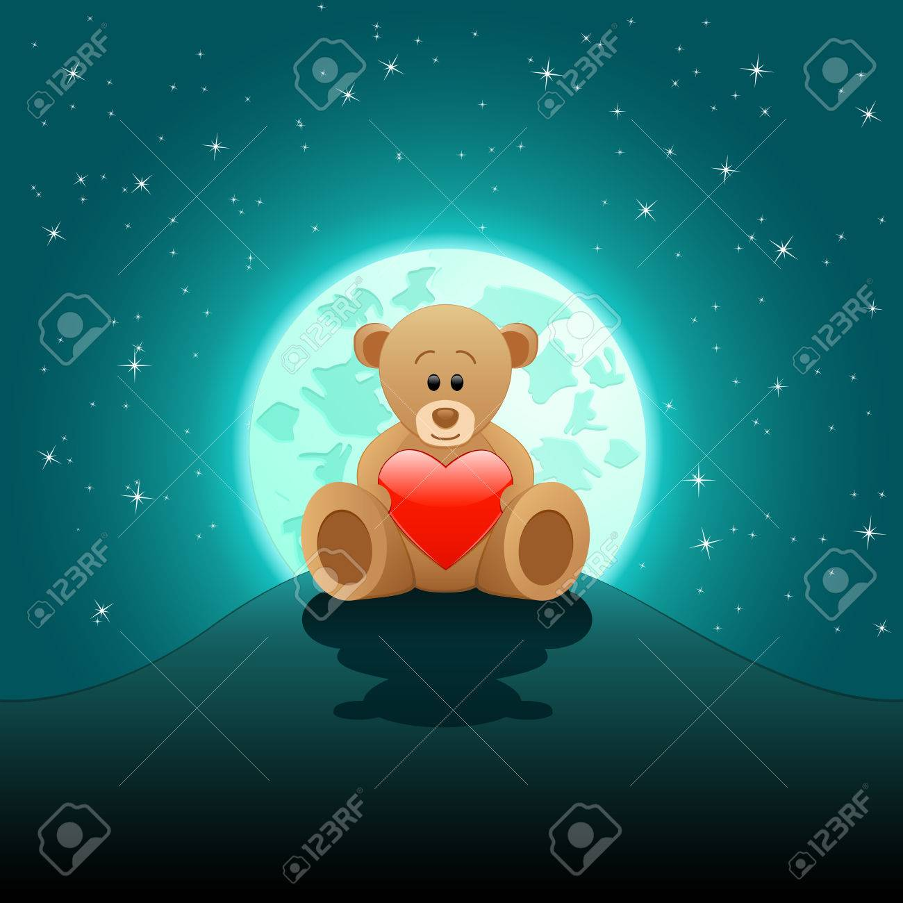 cute Teddy bear with red heart in the moonlight Stock Vector - 8678927