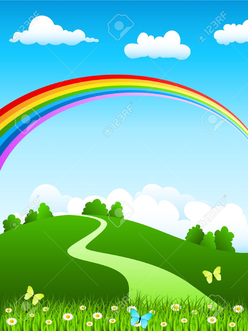 Beautiful garden cartoon - Garden Cartoon Nature Landscape With Rainbow