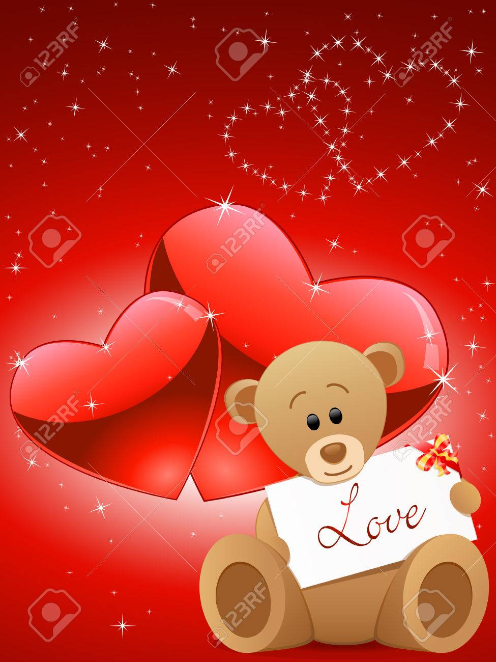 Valentines Day Card With A Teddy Bear Royalty Free Cliparts – Teddy Bear Valentines Day Card