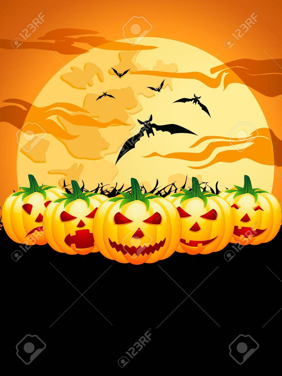 Halloween background with pumpkins and bats Stock Vector - 15721604