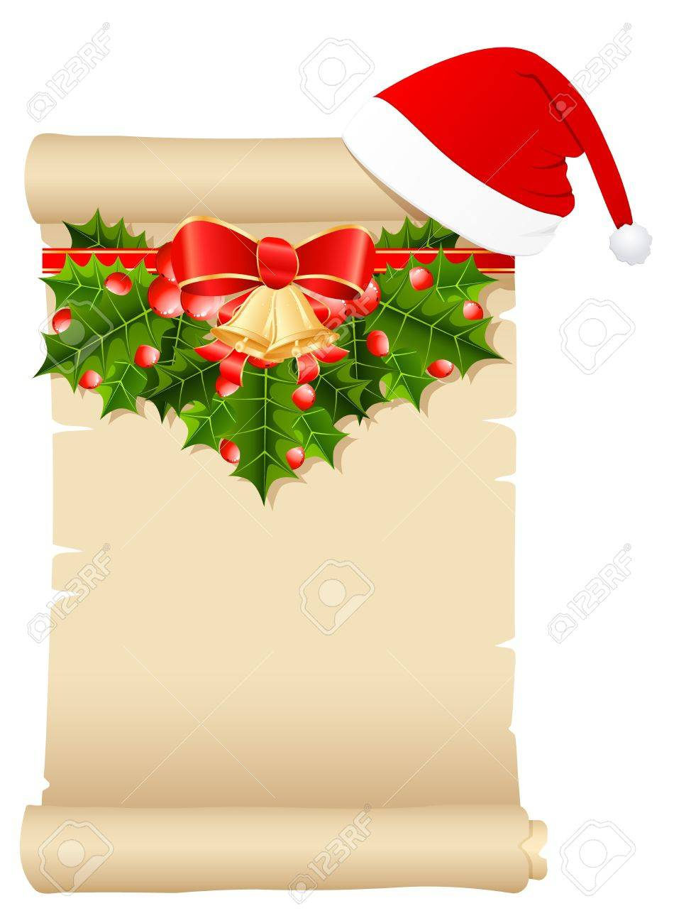 Christmas Wish List With Santa S Hat And Christmas Decoration