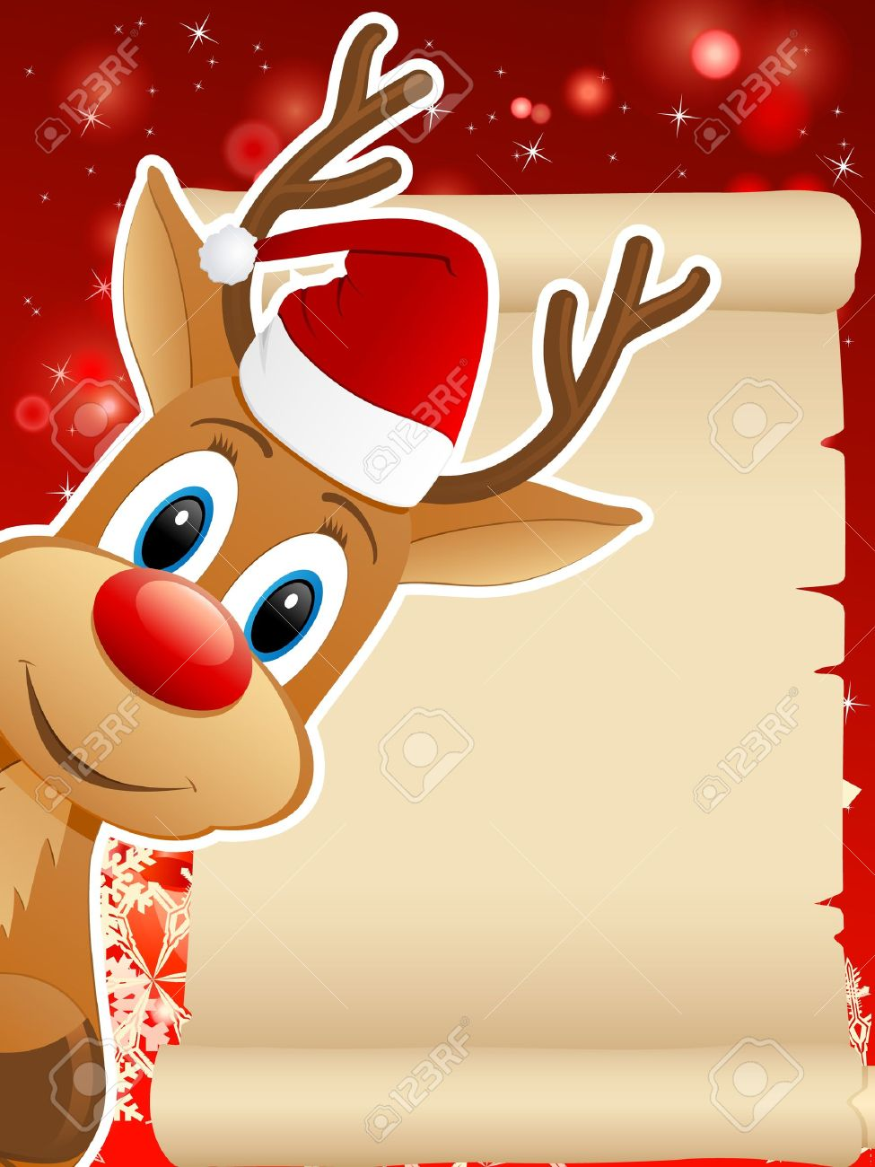reindeer with santa hat and christmas background vector illustration stock vector 16599771 - Reindeer With Santa