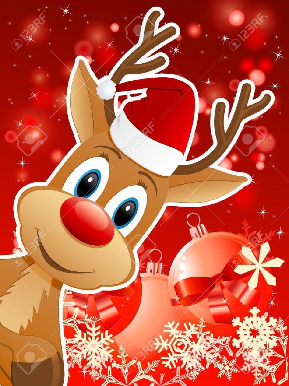 reindeer with santa hat and christmas background vector illustration stock vector 16599770 - Reindeer With Santa