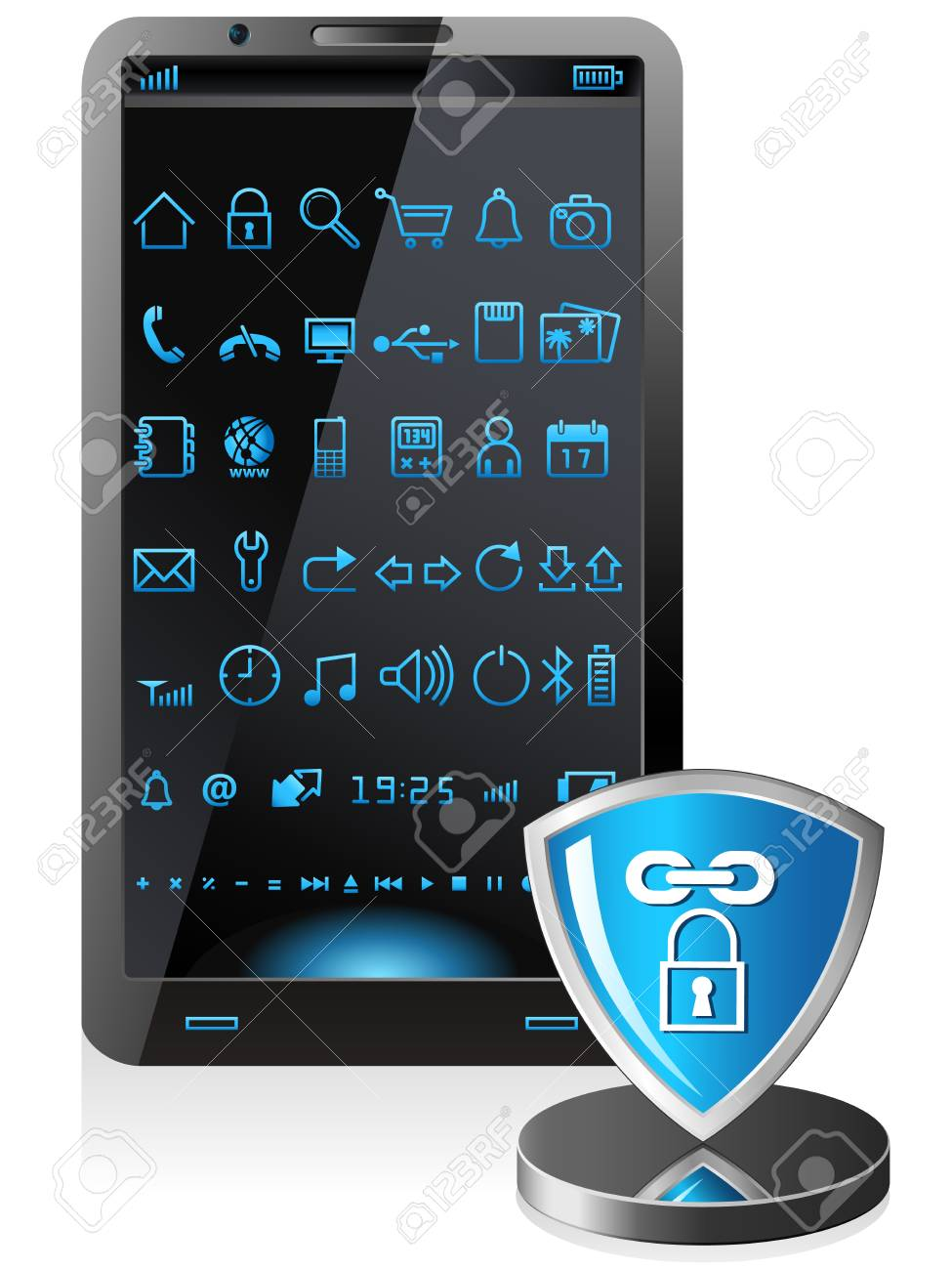 smartphone security software - illustration Stock Vector - 17807944