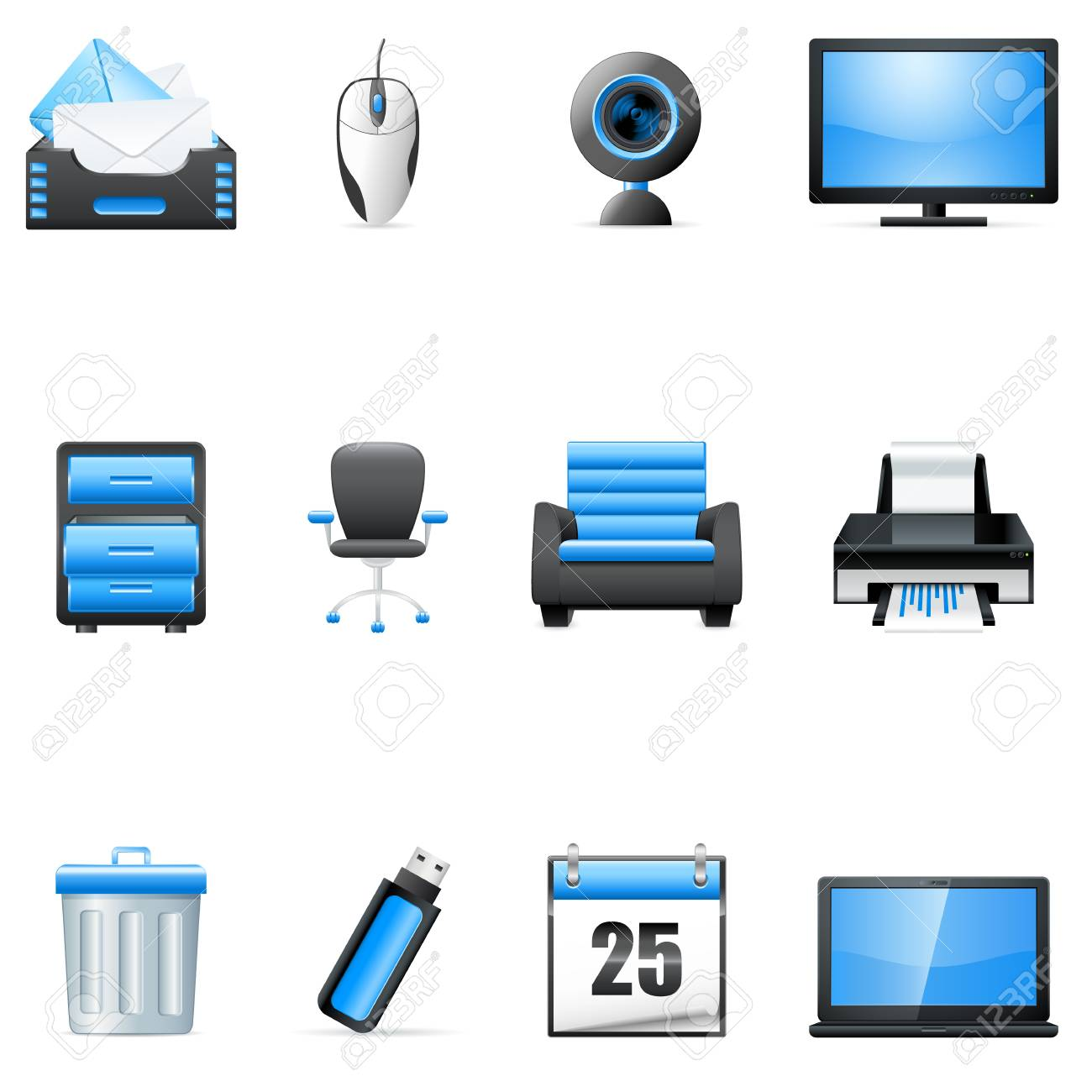 business and technology icons Stock Vector - 18004250