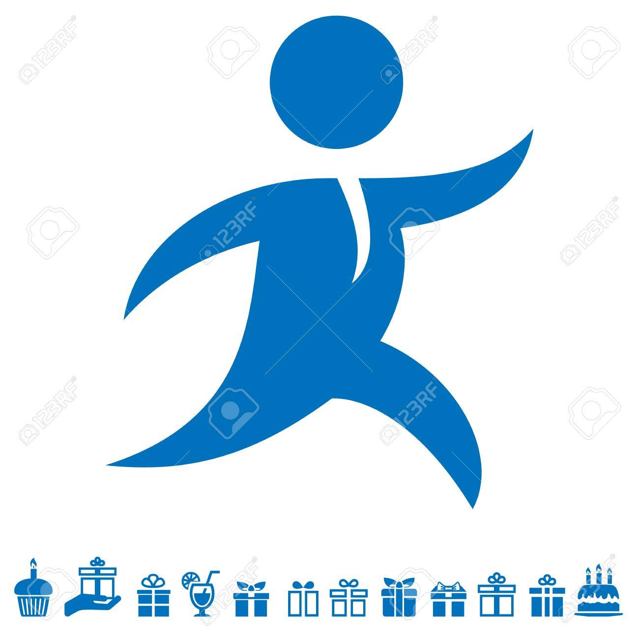 running man, courier and gift icons - 20352839
