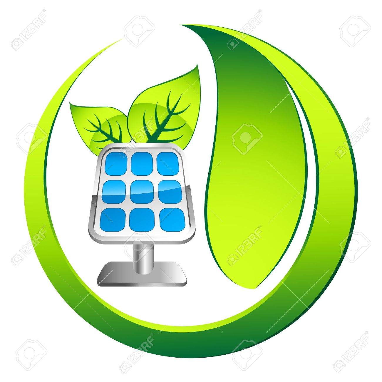 solar panel icon with leafs - 21950614