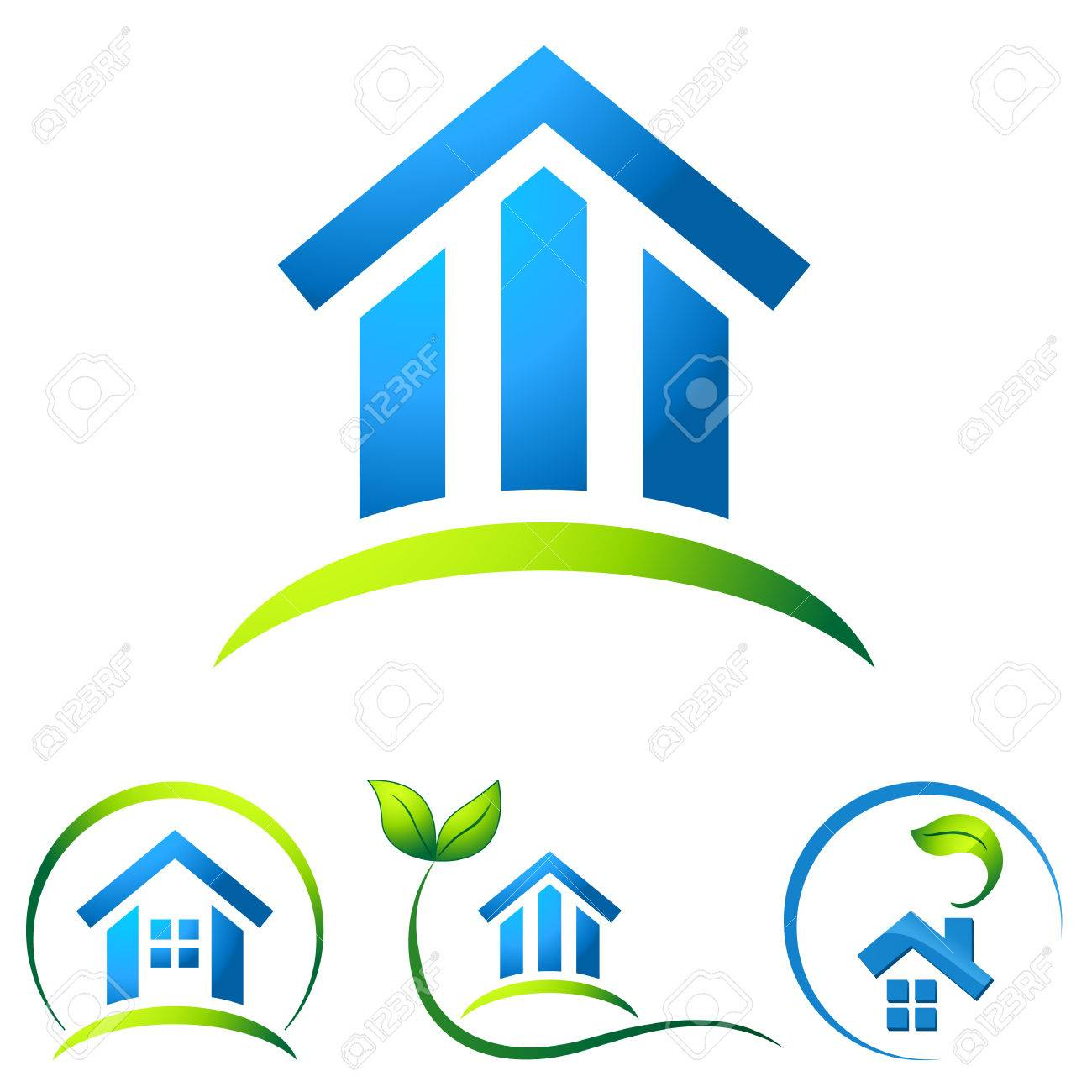 Eco Friendly Construction Eco Friendly House Real Estate Icons Royalty Free Cliparts
